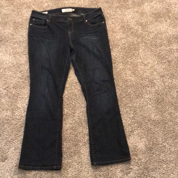 Dark wash relaxed boot cut jeans